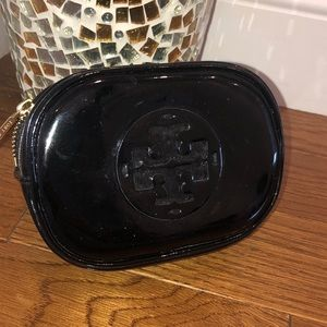 Tory Burch small black patent cosmetics makeup bag